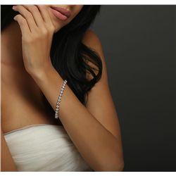 14KT White Gold 11.40ctw Diamond Tennis Bracelet