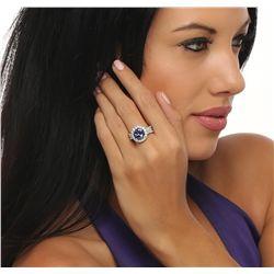 14KT White Gold 4.24ct Tanzanite and Diamond Ring