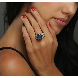 Platinum 24.10ct Blue Star Sapphire and Diamond Ring