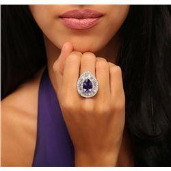 18KT White Gold 4.81ct Tanzanite and Diamond Ring