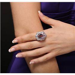 Platinum 29.45ct GIA Certified Kunzite and Diamond Ring