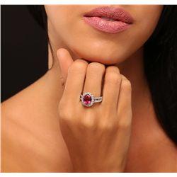 14KT White Gold 2.84ct Tourmaline and Diamond Ring