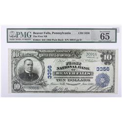 1902 $10 Plain Back Pennsylvania Beaver Creek National Currency