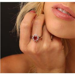 14KT White Gold 3.50ct Orange Sapphire and Diamond Ring