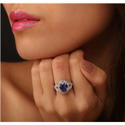 14KT White Gold 2.71ct Tanzanite and Diamond Ring
