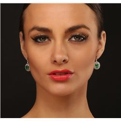 14KT Yellow Gold 1.84ctw Emerald and Diamond Earrings