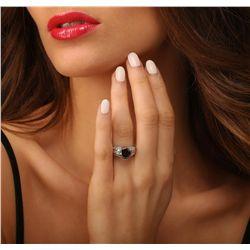 14KT White Gold 3.98ctw Black Diamond Ring
