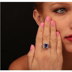 14KT White Gold 4.1ct Tanzanite and Diamond Ring
