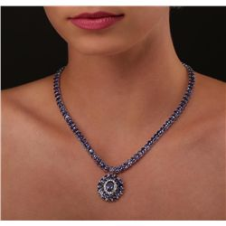 14KT White Gold 51.14ctw Tanzanite and Diamond Necklace