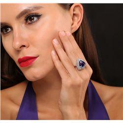14KT White Gold 12.10ct GIA Cert Tanzanite and Diamond Ring