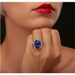 18KT White Gold GIA Certified 15.39ct Tanzanite and Diamond Ring