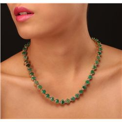 14KT Yellow Gold 37.26ctw Emerald and Diamond Necklace