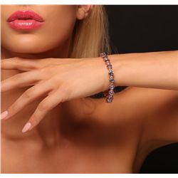 14KT Rose Gold 15.24ctw Tanzanite and Diamond Bracelet