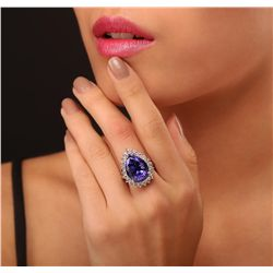 14KT White Gold GIA Certified 13.39ct Tanzanite and Diamond Ring