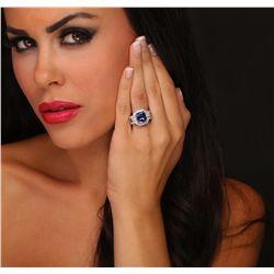 14KT White Gold 5.24ct Tanzanite and Diamond Ring