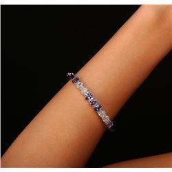 14KT White Gold 3.85ctw Tanzanite and Diamond Bracelet