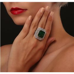 14KT Two-Tone 17.96ct Emerald and Diamond Ring