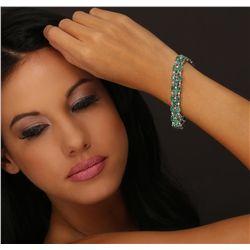 14KT White Gold 14.28ctw Emerald and Diamond Bracelet