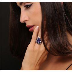 14KT White Gold 9.34ct GIA Cert Tanzanite and Diamond Ring