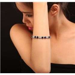 14KT White Gold 13.59ctw Sapphire and Diamond Bracelet