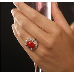 14KT Yellow Gold 4.08ct Coral and Diamond Ring