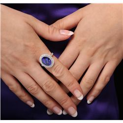 14KT White Gold 6.02ct Tanzanite and Diamond Ring