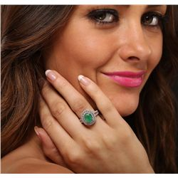 14KT Two Tone Gold 1.49ct Emerald and Diamond Ring