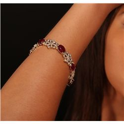14KT Yellow Gold 30.97ctw Ruby and Diamond Bracelet