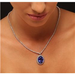 14KT White Gold 15.40ct GIA Certified Tanzanite and Diamond Necklace