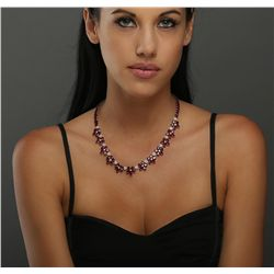 14KT Yellow Gold 52.64ctw Ruby and Diamond Necklace