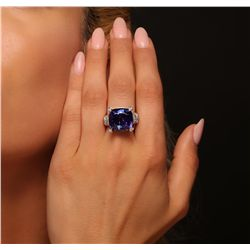 14KT White Gold 15.57ct Tanzanite and Diamond Ring