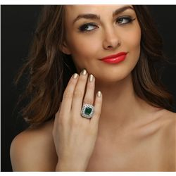 14KT White Gold 6.33ct Emerald and Diamond Ring