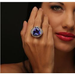 18KT White Gold GIA Certified 20.56ct Tanzanite and Diamond Ring