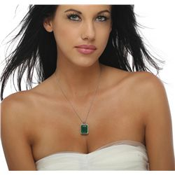 14KT White Gold 23.13ct Emerald and Diamond Pendant With Chain
