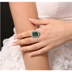 14KT White Gold 9.35ct Emerald and Diamond Ring