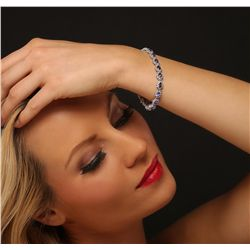 14KT White Gold 8.55ctw Tanzanite and Diamond Bracelet