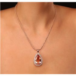 14KT Rose Gold GIA Certified 31.73ct Morganite and Diamond Pendant With Chain