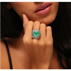 14KT White Gold 9.54ct Emerald and Diamond Ring
