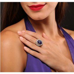14KT Yellow Gold 10.06ct GIA Cert Tanzanite and Diamond Ring