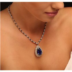 14KT and 18KT Yellow Gold 23.14ct Tanzanite, Sapphire and Diamond Necklace