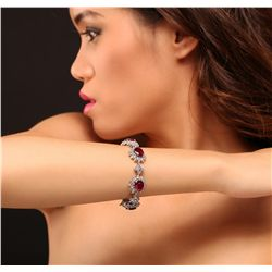 14KT White Gold 24.00ctw Ruby and Diamond Bracelet