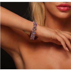 14KT Rose Gold 24.17ctw Tanzanite and Diamond Bracelet