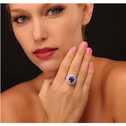 14KT White Gold 5.76ct Tanzanite and Diamond Ring