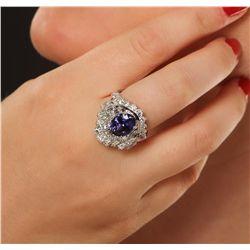 14KT White Gold 4.00ct Tanzanite and Diamond Ring
