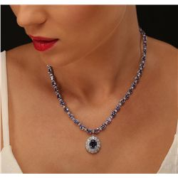 14KT White Gold 31.96ctw Tanzanite and Diamond Necklace