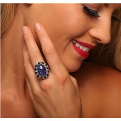 14KT Yellow Gold 14.89ct Tanzanite and Sapphire Ring