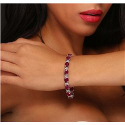 14KT White Gold 27.00ctw Ruby and Diamond Bracelet