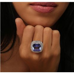 14KT White Gold GIA Certified 14.89ct Tanzanite and Diamond Ring