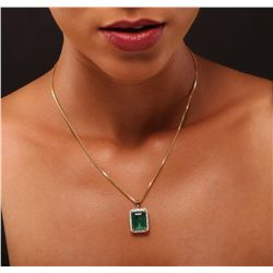 14KT Yellow Gold 8.05ct Emerald and Diamond Pendant