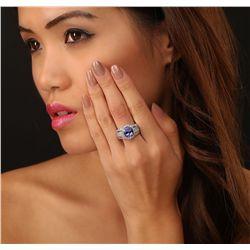 14KT White Gold 4.27ct Tanzanite and Diamond Ring